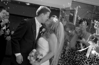 bridal couple just married with bubbles
