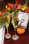mini pumpkin holder for table tent with champaign glasses
