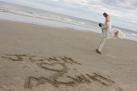 wedding writings in the sand