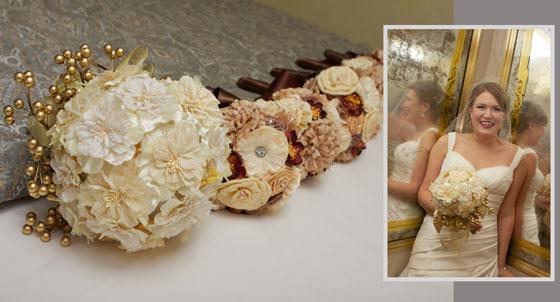 handmade silk bouquets with bridal portrait