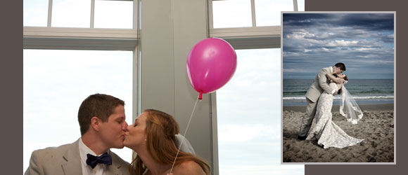 wedding kiss dramatic beach