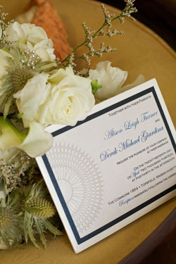 wedding invitation with bride's bouquet