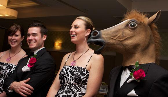 wedding comedian horse head mask